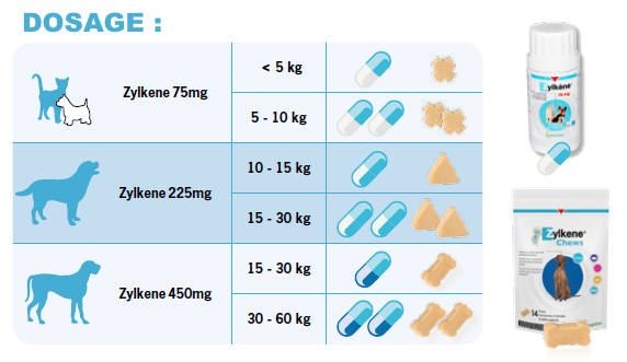 Dosage Zylkene Chew pour chat et chien